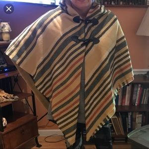 Mark&Hall Brown striped poncho with toggle closure